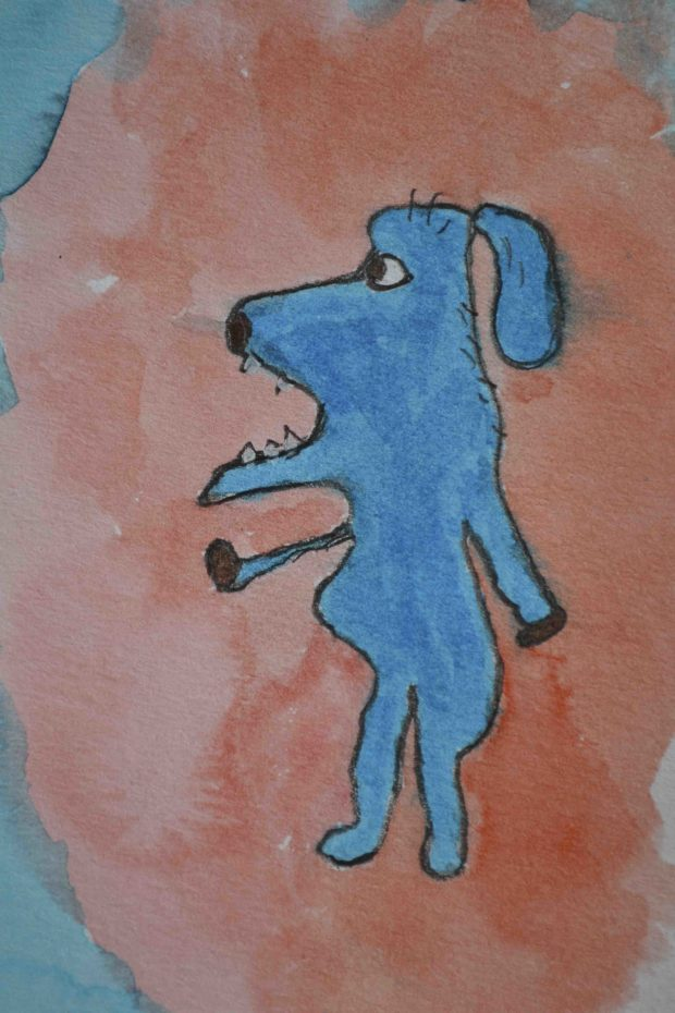 One-line pencil drawing of imaginary dog character colored with watercolor markers.