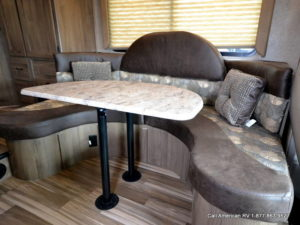 The dinette is a nice design and it looks easy enough to slide in and out of ... bonus for a smaller RV!