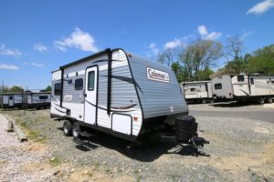 A lightweight and economical travel trailer, comes standard with an awning and stabilizer jacks.