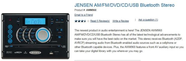 July 2015 Jensen Bluetooth Stereo