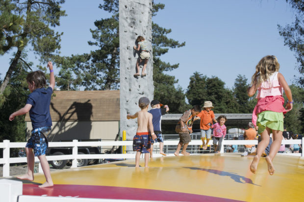 Kids love climbing and jumping at the SF/Petaluma KOA