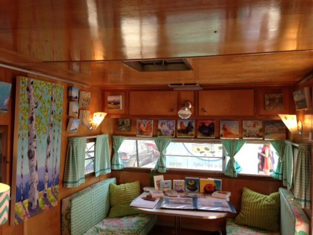 Kristina Wentzell's interior of Happy Camper Mobile Art Gallery.
