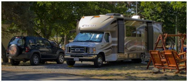 Little RV Class A Siesta Motorhome and Car