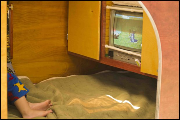 When Ronda takes her grandson camping, he can enjoy a little time on his own watching his favorite cartoon.