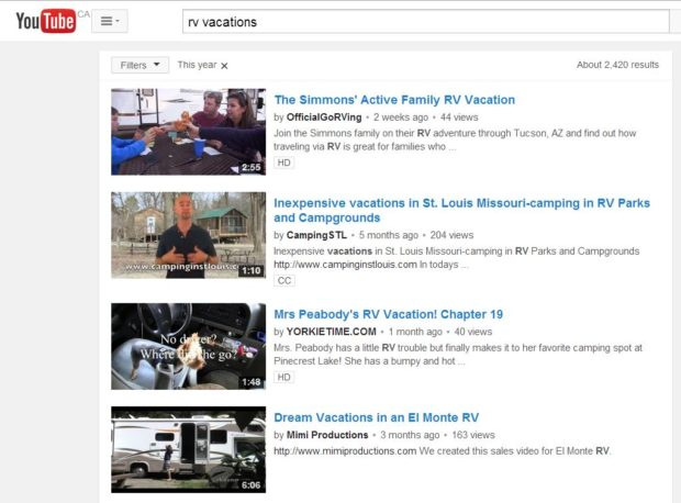 """YouTube search """"RV Vacations"""""""
