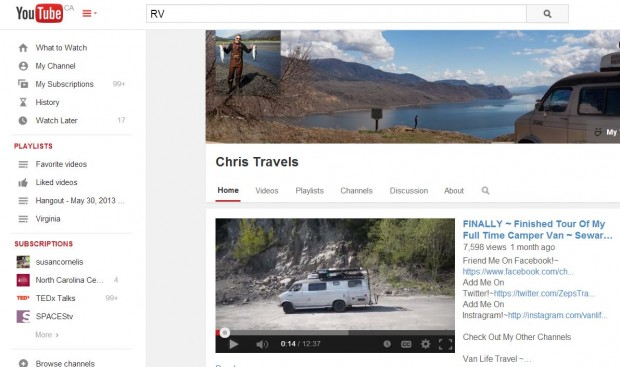 """YouTube """"Chris Travels"""" channel."""