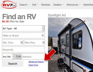 Delving into Advanced Searches to help you find your next RV.