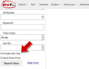 Dealer listings shown together with private listings is the default Search Result on RVT.com. But, if you want private listings only, check this box.