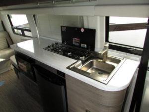 Corian countertops, sleek euro-style cabinets.