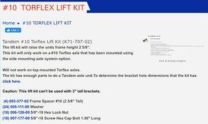 Dexter 10 torflex dual axle lift kit K7170702